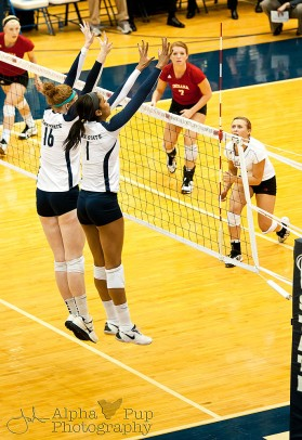 Penn State vs. Indiana University - Women's Volleyball - Katie Slay & Ariel Scott with the Block