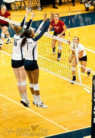Penn State vs. Indiana University - Women's Volleyball - Katie Slay & Ariel Scott with the Block