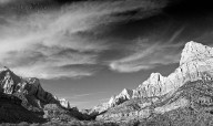 Canyon Sunset in Black & White - Zion NP
