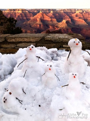 Mini-Snowman Family at Sunset